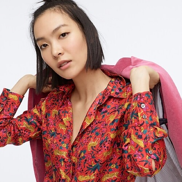 J. Crew Tops - NWT J. Crew Collection Silk Top in Cerise Cats sz6